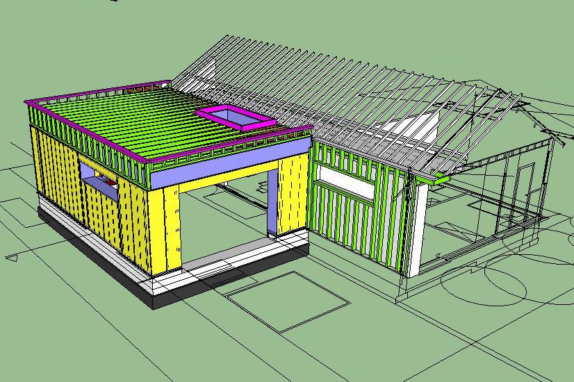 loyers annexe ossature bois isolant paille enduit terre plan3d 01. Black Bedroom Furniture Sets. Home Design Ideas