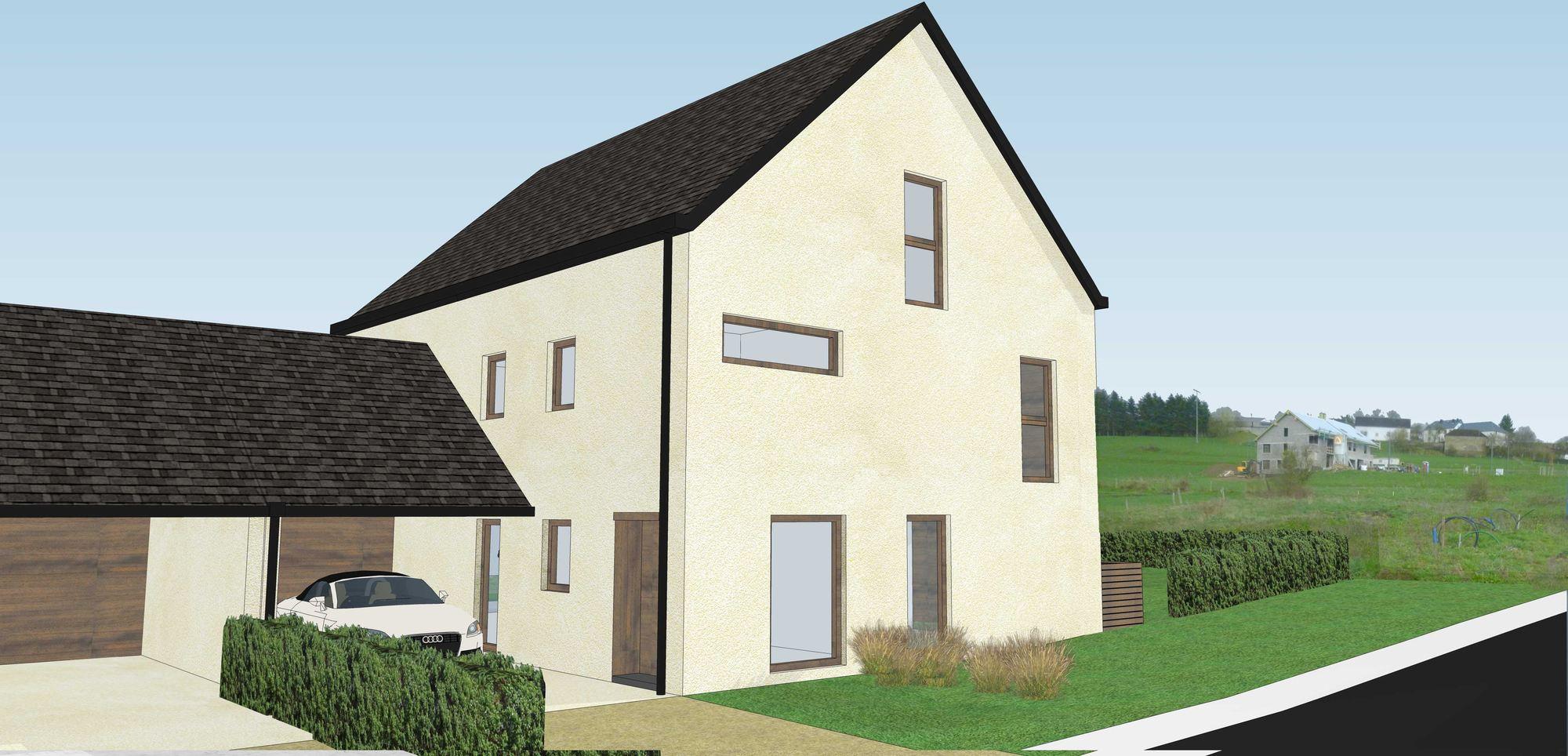 Paille tech kaundorf luxembourg maison bois paille terre for Architecte 3d bois